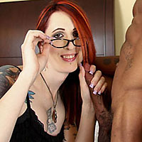 shemale redhead brittany st.jordan giving blowjob in glasses