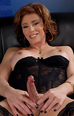 transsexual milf jasmine jewels strokes her hard girl-cock