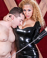 Latin shemale babe Jessica Host in shiny leather bangs her slave